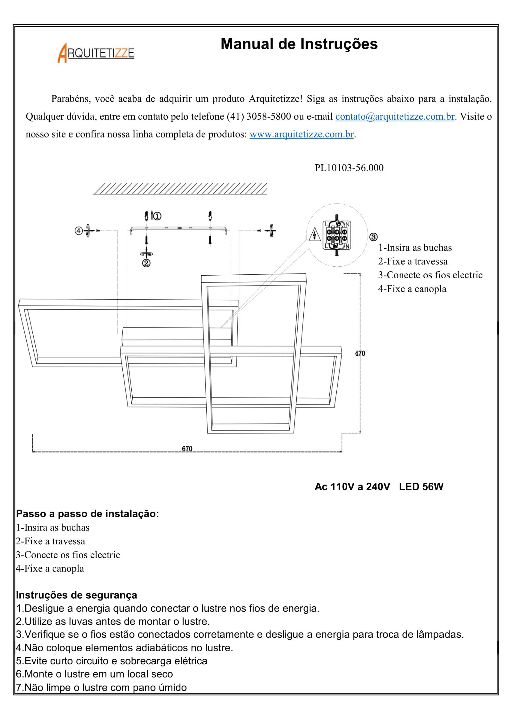 PLAFON QUADRA EM ALUMÍNIO BRANCO PL10103-56.000