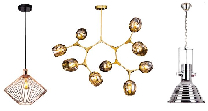 Tons cobre, dourado e prata para pendentes na iluminação