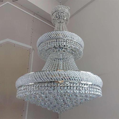 LUSTRE IMPERIAL COM CRISTAIS E ESTRUTURA EM AÇO COM BANHO CROMO PARA 21 LAMP BOCAL E14 LED LC4611-21.000